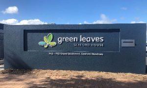 Green Leaves letter box sign